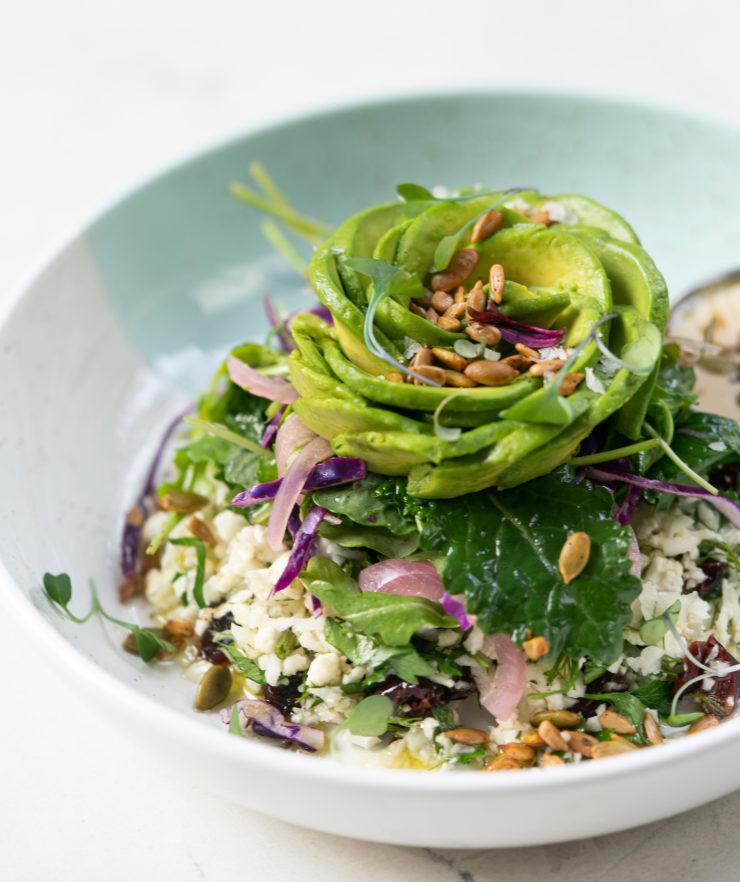 Cauli-Rice with an Avocado Rose Salad